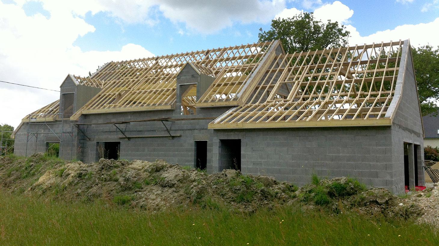 Réalisation de charpente pour maison individuelle